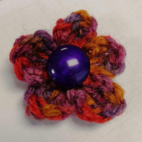 Crocheted flower brooch