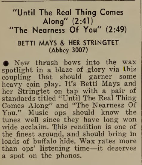 Betti Betty Mays Cash Box Review Abbey 3007