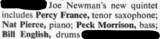 Down Beat Joe Newman Percy France