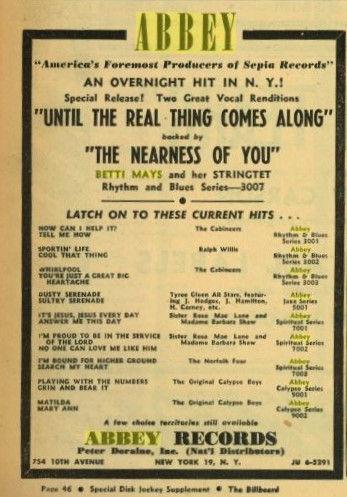 Betti Mays Betty Mays Abbey Record 3007