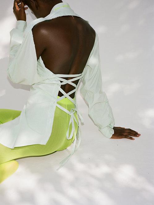 Green Plaid Backless Shirt