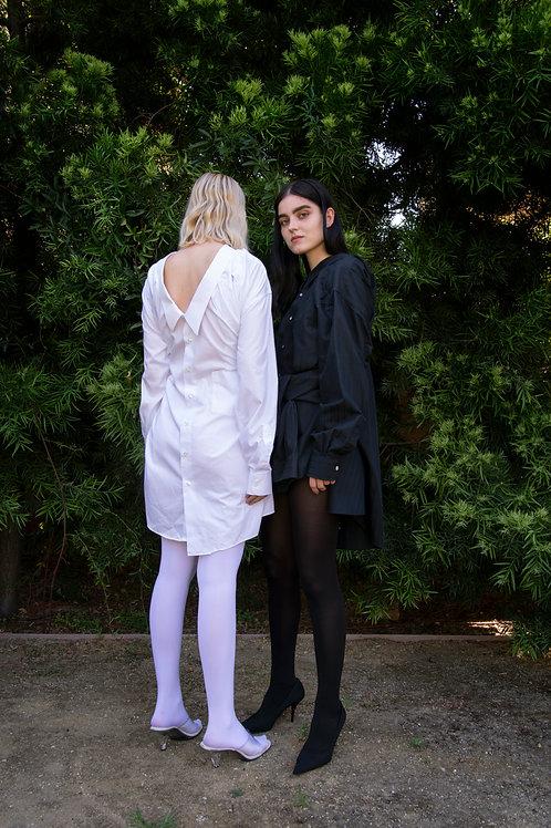 Black and White Cotton Twin Shirt Dress