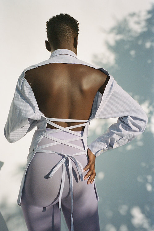 Lavender Plaid Backless Shirt