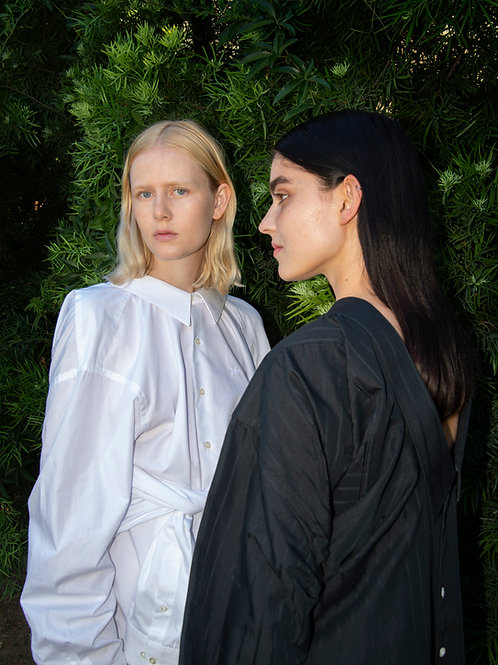 White and Black Cotton Twin Shirt Dress Detail