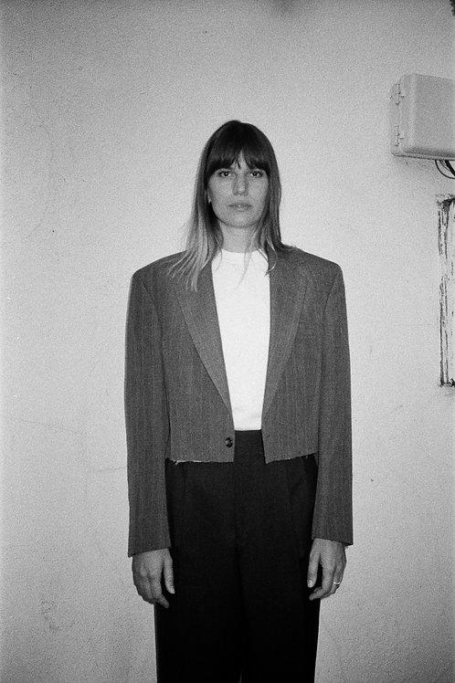 Cropped Grey Suit Jacket