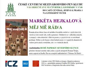 Listopadová autorská čtení členů PEN klubu: Markéta Hejkalová, Jakub Fišer, Jiří Tomáš, Václava Jand