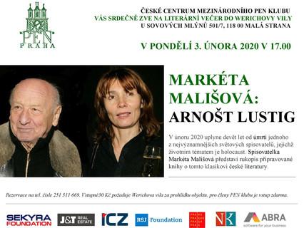 Markéta Mališová bude číst z rukopisu své knihy o tom, jaký byl Arnošt Lustig