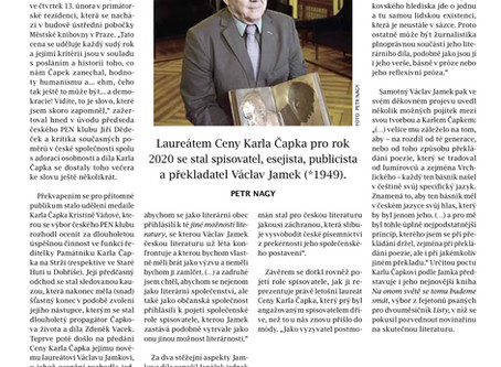 Petr Nagy píše o Ceně Karla Čapka v časopise Biblio, příloze Literárních novin