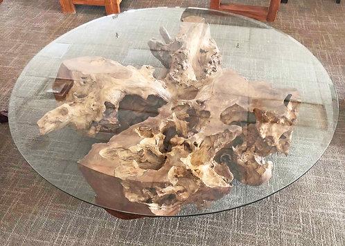 "Diameter 40 "" Exotic Contemporary Round Coffee Table Teak Root (CTR64)"