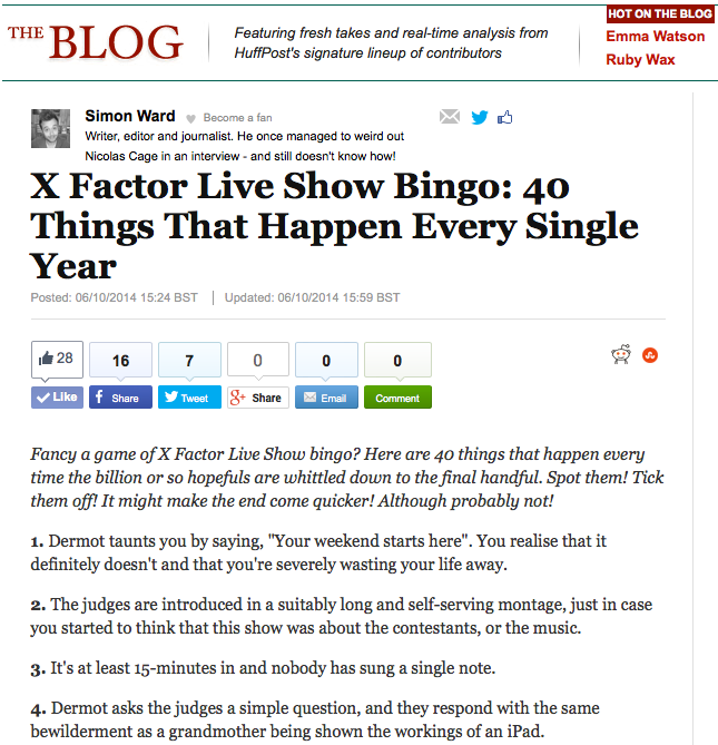 X Factor Piece For HuffPost Comedy