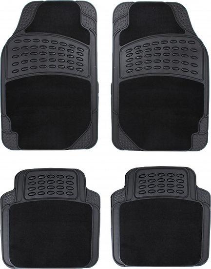 automattenset universeel PVC/textiel zwart 4-delig