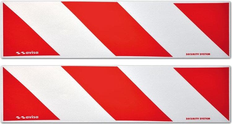reflecterende stickers 50 x 14 cm rood/wit 2 stuks