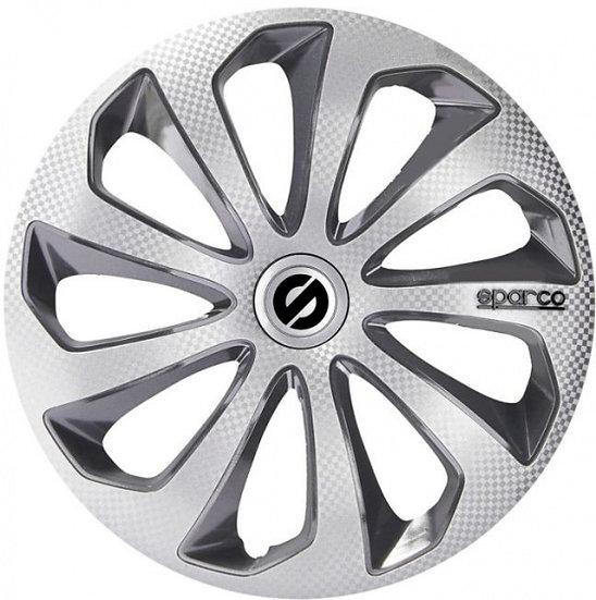 wieldoppen Sicilia 14 inch ABS zilver/grijs set van 4