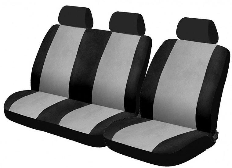 stoelhoezenset Van uni polyester zwart/grijs 6-delig