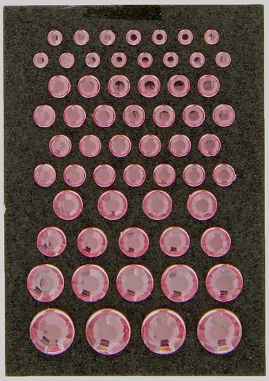 zelfklevende diamantjes 4-12 mm roze 59 stuks