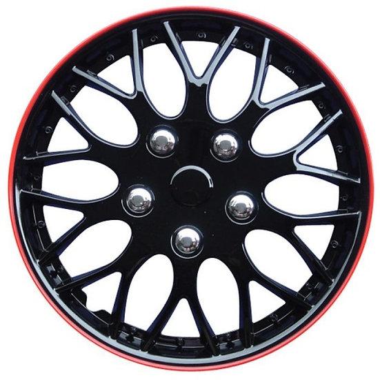 wieldoppen Missouri 16 inch ABS zwart/rood set van 4