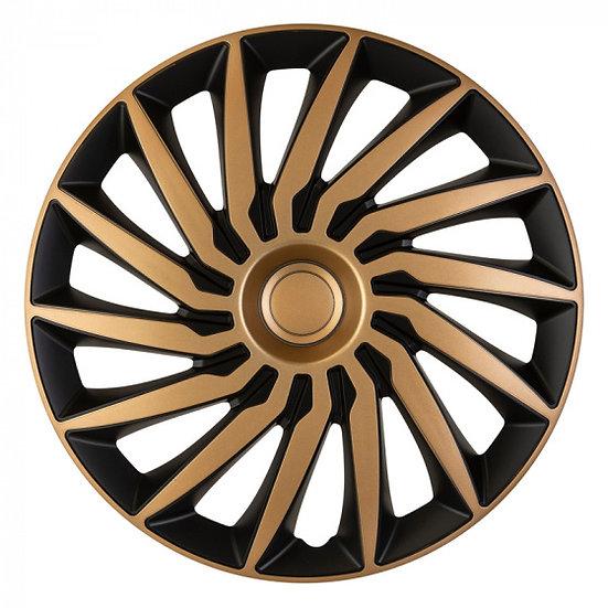 wieldoppen Kendo 15 inch ABS zwart/goud set van 4