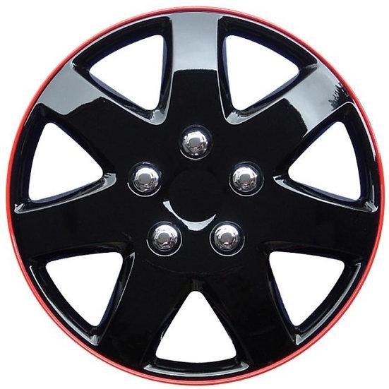 wieldoppen Michigan 15 inch ABS zwart/rood set van 4