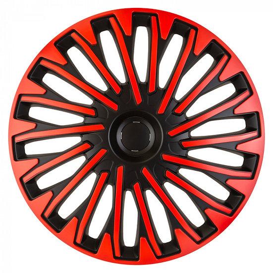 wieldoppen Soho 14 inch ABS zwart/rood set van 4