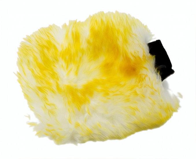 washandschoen washmitt schapenwol wit/geel