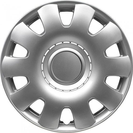 wieldoppen Georgia 14 inch ABS zilver set van 4