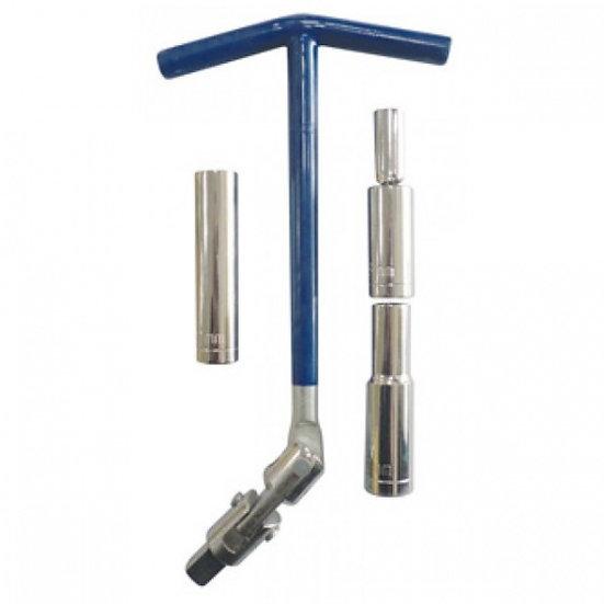 bougiesleutel T-greep 63 cm staal 8-10-12 mm chroom