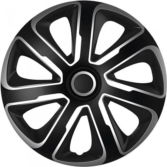 wieldoppen Livorno 13 inch ABS zwart/zilver set van 4