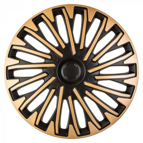 wieldoppen Soho 15 inch ABS zwart/goud set van 4