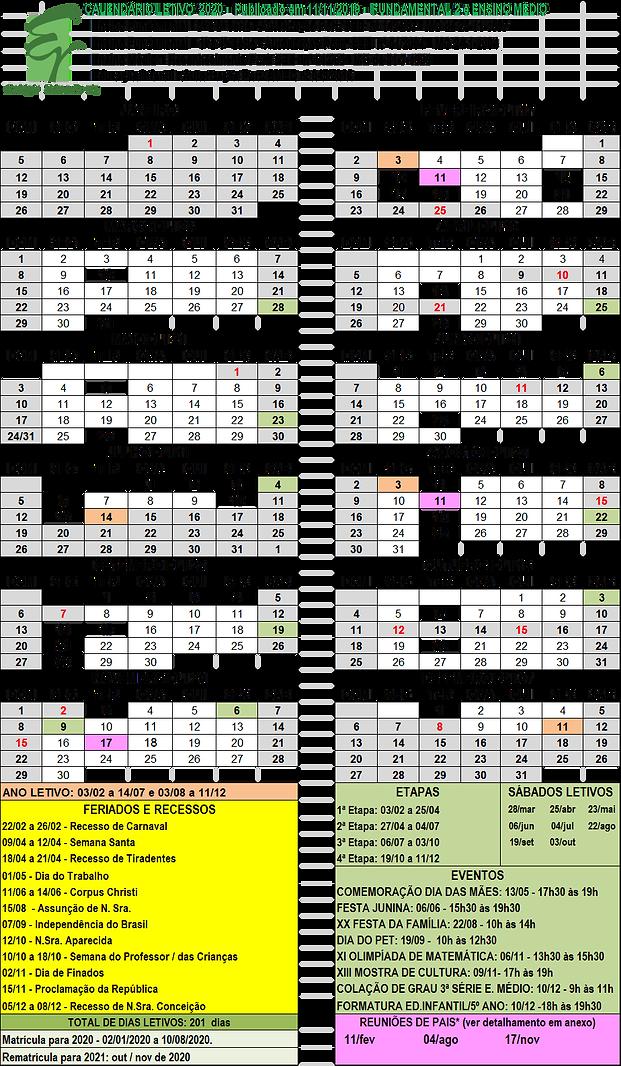 calendário letivo fundamental 2 e médio.