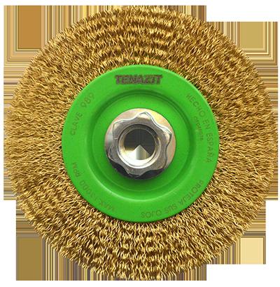 Cepillo circular de Alambre ondulado Latonado Multiusos