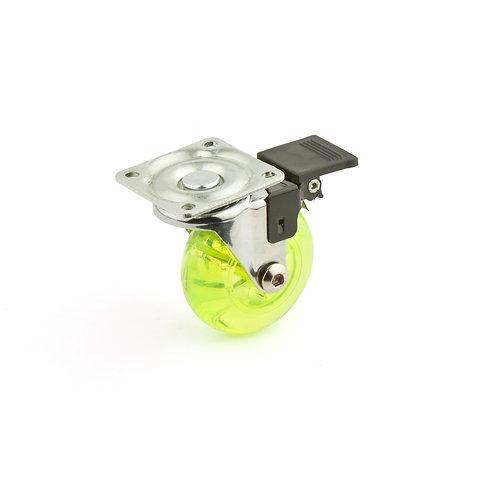 Rodo giratorio de poliuretano Verde con freno