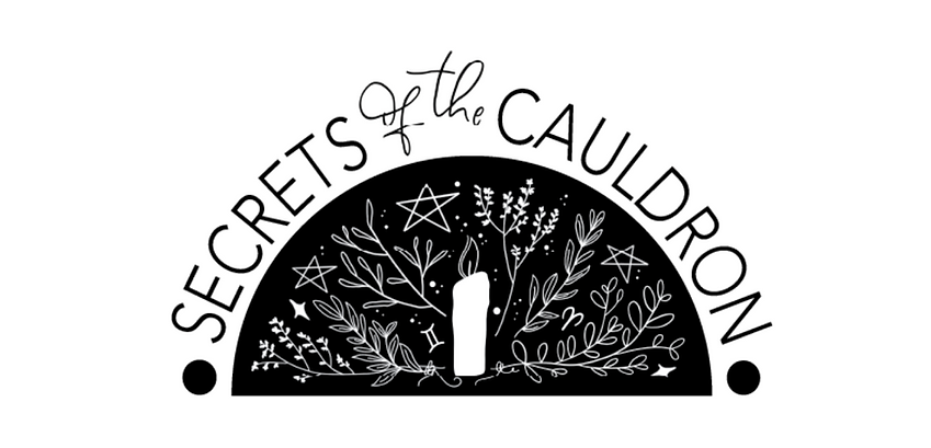 secrets of the cauldron logo white witchcraft for beginners