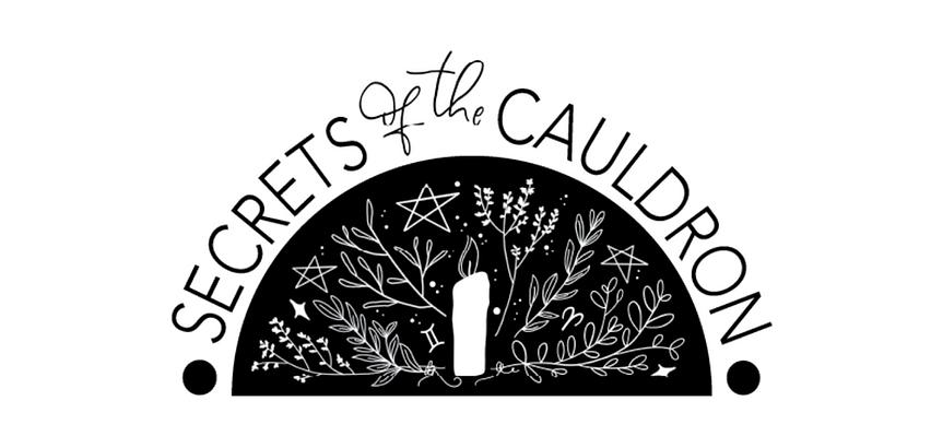 secrets of the cauldron logo beginners b&w