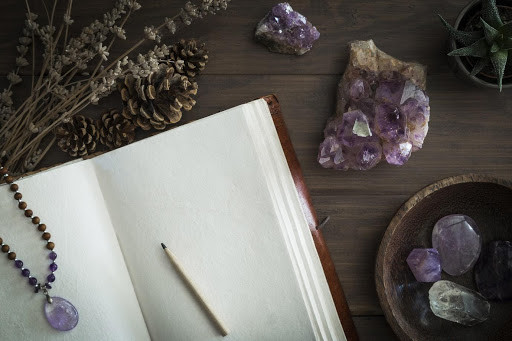 Journal and pen with amethyst crystals
