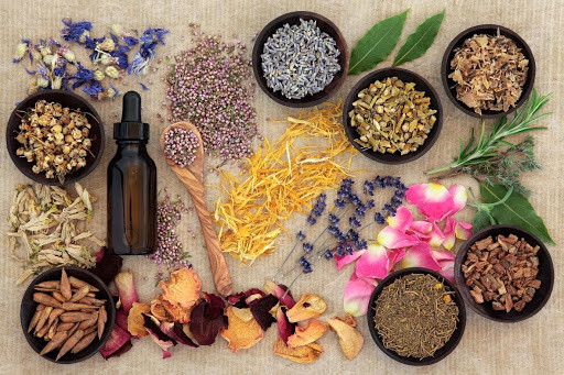 Dried herbs, resins and flowers for spellcasting. Witches herbs.