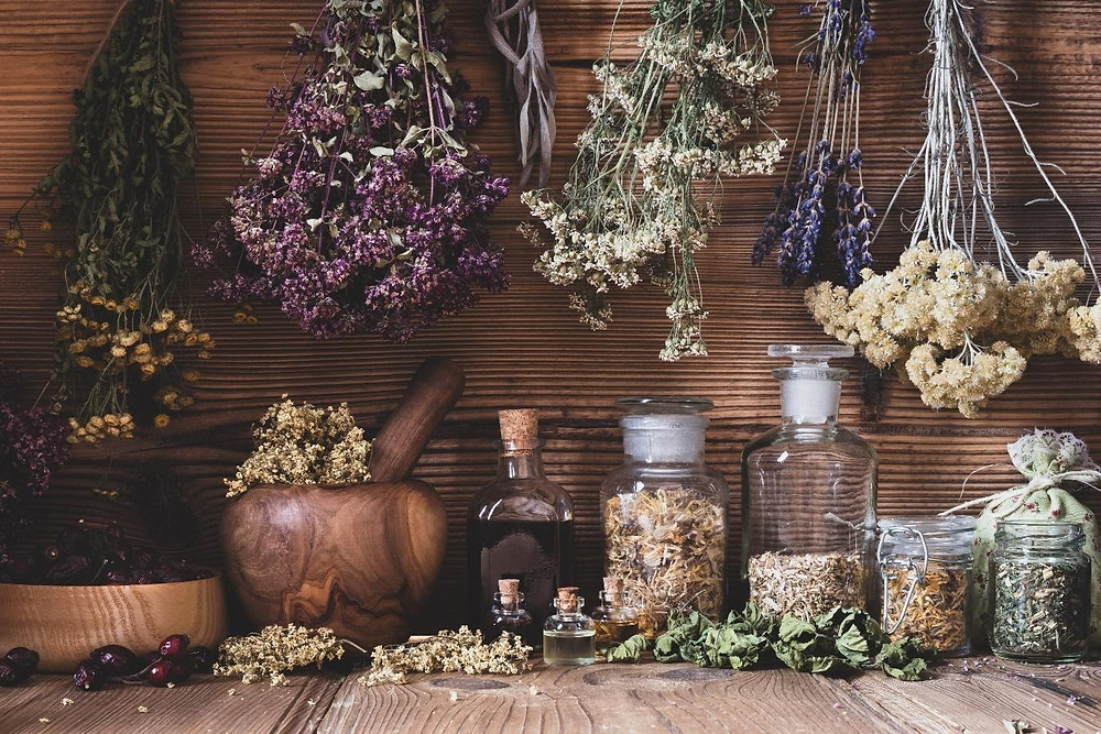 Magical herbs for Witchcraft, dried herbs, pestle and mortar, Witches herbs