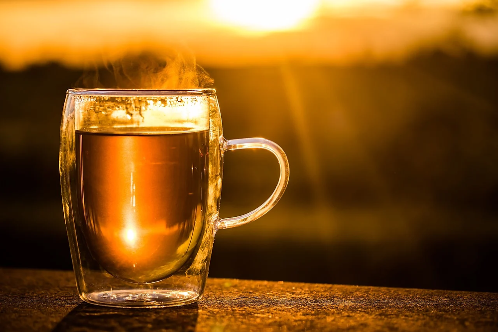 sunrise tea in a clear mug