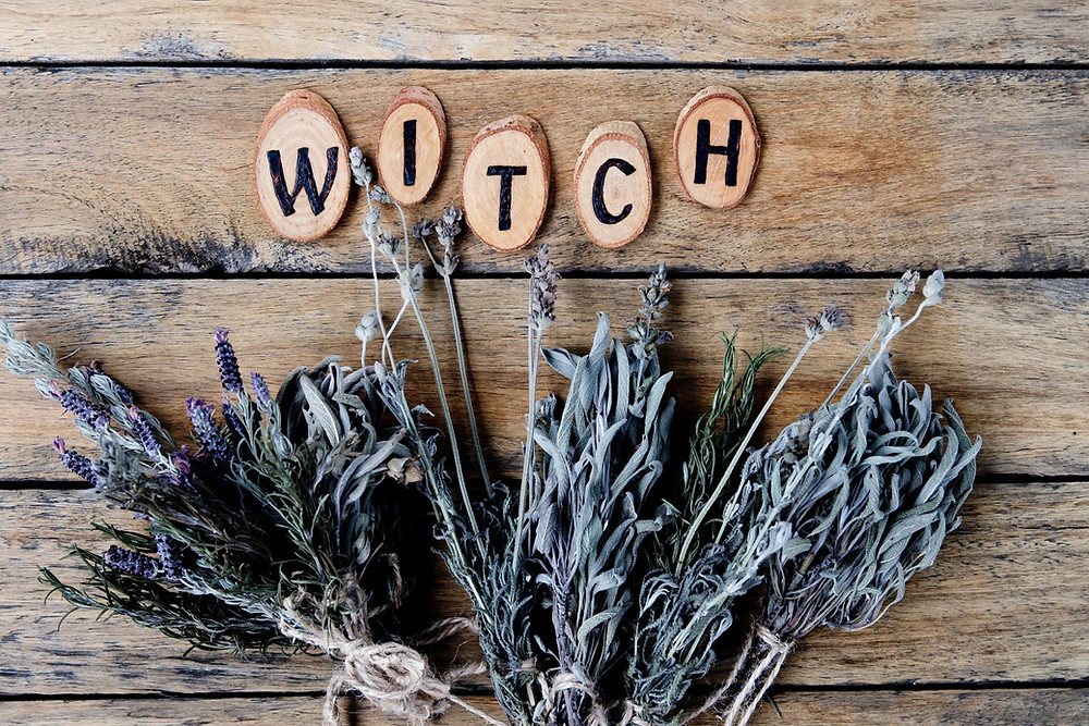 witch dried herbs lavender rosemary