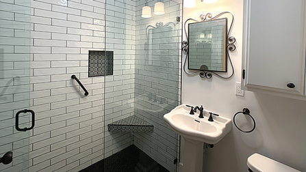 Subway Tile with Black Grout and Floor