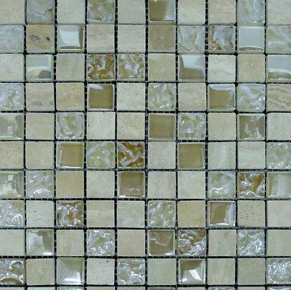 Mosaico Marmol Vidrio Martellato Beige 30.5x30.5