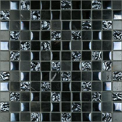 Mosaico Marmol Vidrio Martellato Nero 30.5x30.5
