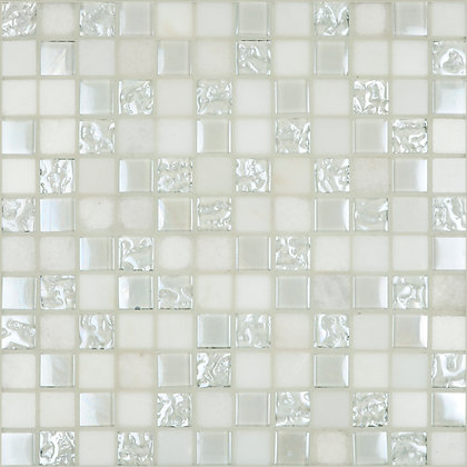 Mosaico Marmol Vidrio Martellato Bianco 30.5x30.5