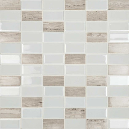 Mosaico Adhesivo Crystal Piedra White 30x30