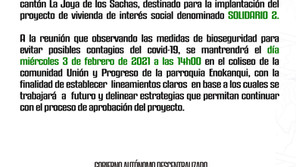 CONVOCATORIA A LOS BENEFICIARIOS DEL PROYECTO DE VIVIENDA DE INTERÉS SOCIAL DENOMINADO SOLIDARIO 2