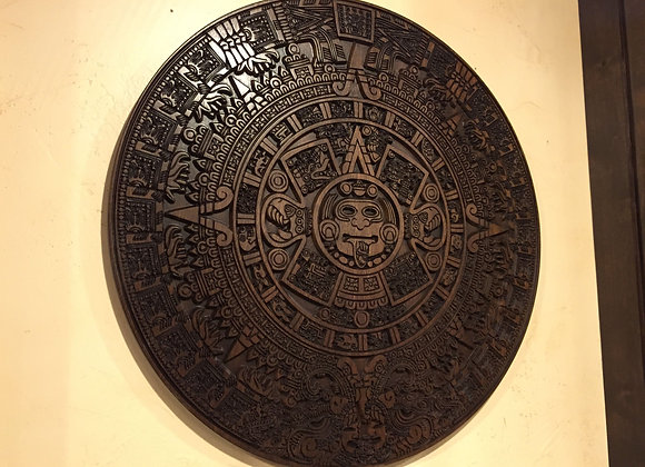 "30"" Aztec Calendar, Carved from solid wood"