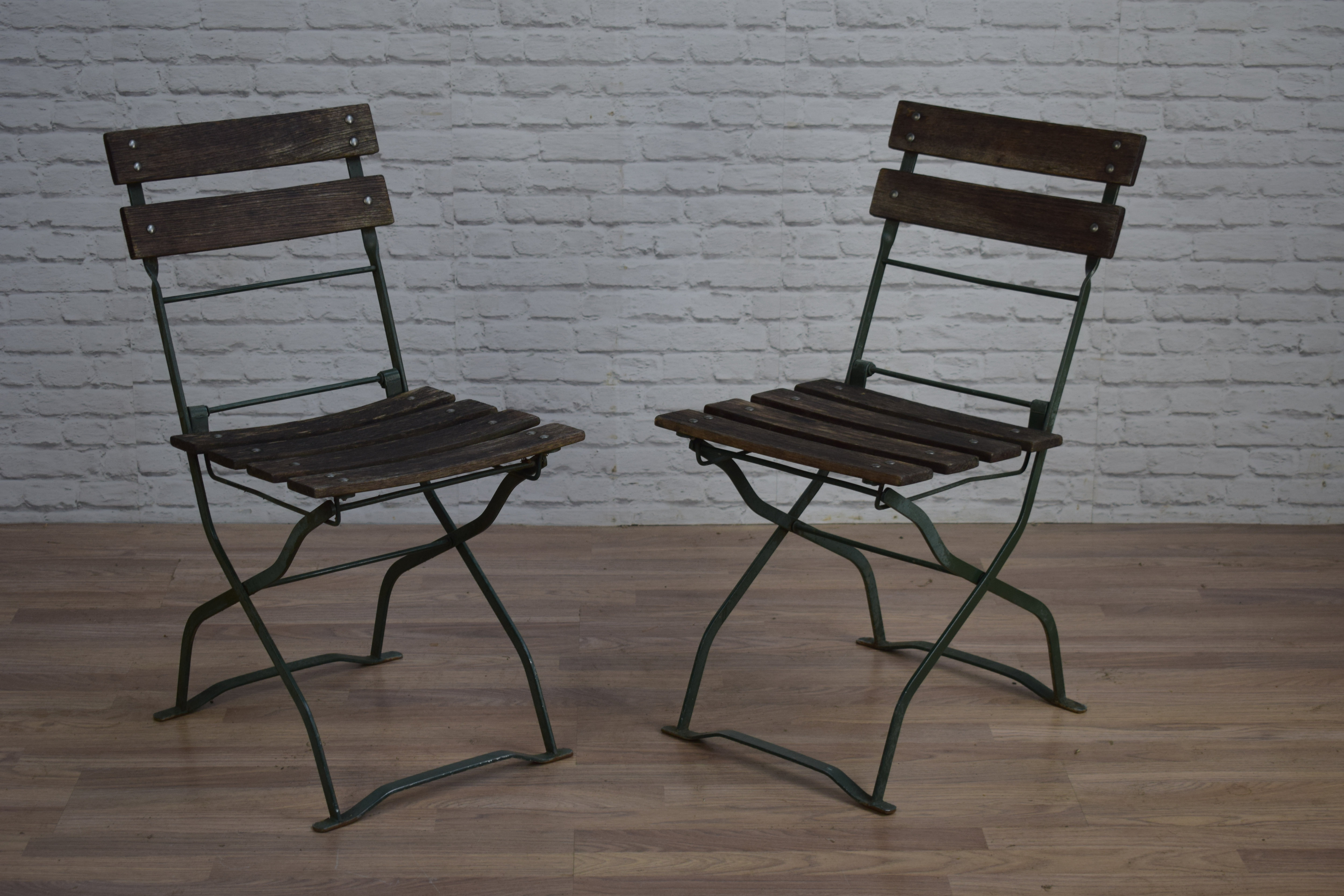 Vintage Industrial Style Green Folding Garden Cafe Bar Chairs 50 Available