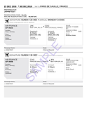 Sample flight booking , ticket for visa, flight reservation for visa