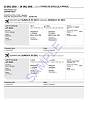 Sample flight booking , ticket for visa, flight reservation for visa