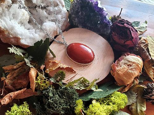 """Collier """"Pierre des reines"""" ( Grande pierre) (Jaspe rouge) Argent-925"""