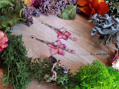 """Boucles """"Fleurs des grands elfes"""" (rose/plusieurs cristaux)"""